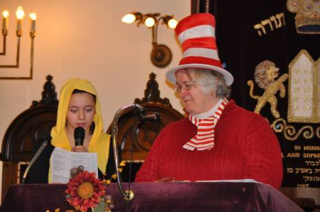 2016 Purim Rabbi and Jenna Cat in Hat